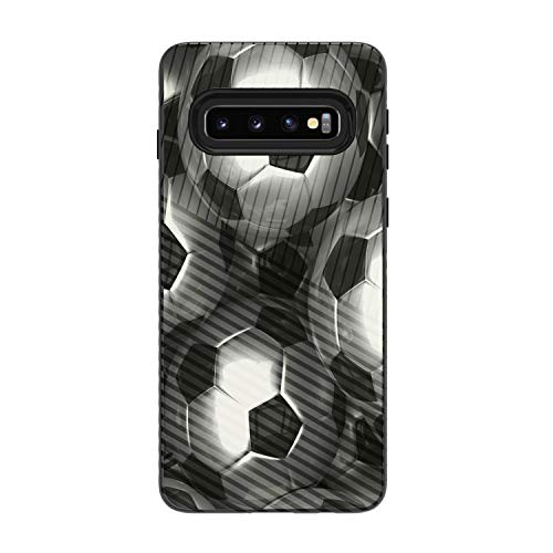 MINITURTLE Compatible with Samsung Galaxy S10 G973U Slim Hard Embossed Shell Grip Hybrid Case Protection - Silver Soccer Balls