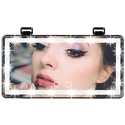 Car Visor Vanity Mirror, Car Makeup Mirror with Lights 60 LED, 3 Light Mode Car Vanity Mirror Type-C Powered, Dimmable Sun Visor Mirror with Touch on Screen, Clip-on Vanity Mirror for Women (Black)