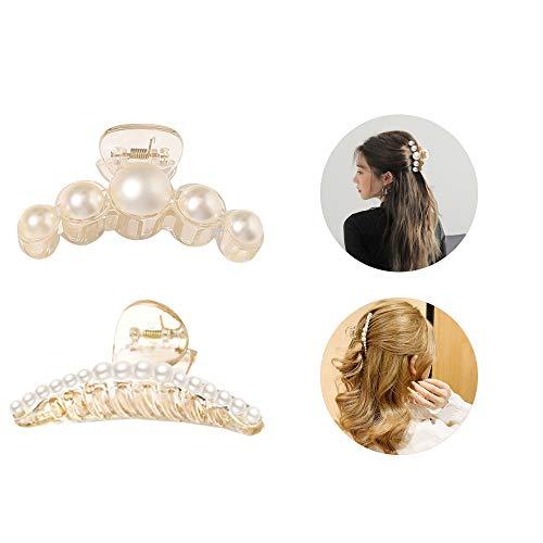 2 Stück Künstliche Perle Haarnadel Clip, Spinne Kiefer Haar Klaue Clips, Metall Klauen Klammer Haarspangen, Rutschfeste Haarbackenklemme Clips, zum Fixieren des Haares, für verschiedene Frisuren