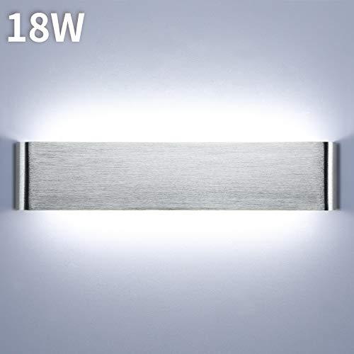 Lightess 18W Wandleuchte Innen LED Treppenhaus Lampen Moderne Wandlampe Silber mit Up Down Licht IP44 aus reinem Aluminium für Wohnzimmer Schlafzimmer FlurTreppen usw, Kaltweiss