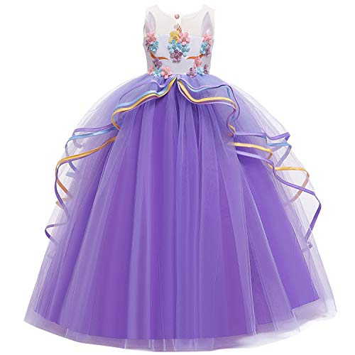 NNJXD Vestido de Unicornio para Niñas Apliques Fiesta Cosplay Disfraces de Halloween