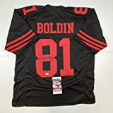 Autographed/Signed Anquan Boldin San Francisco Black Football Jersey JSA COA
