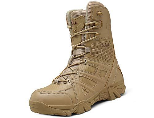 IYVW 5.AA 8810 Botas Militares de Senderismo para Hombre, Impermeables, para Combate, Escalada, Botas tácticas para otoño e Invierno Amarillo Desierto 47 EU