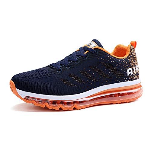 frysen Herren Damen Sportschuhe Laufschuhe mit Luftpolster Turnschuhe Profilsohle Sneakers Leichte Schuhe Blue Orange 44