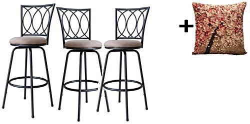 Roundhill Furniture Redico Adjustable Metal Barstool, (3 Black Stool)