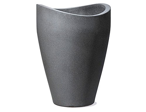 Scheurich Wave Globe Slim, Hochgefäß aus Kunststoff, Schwarz-Granit, 39,5 cm Durchmesser, 80 cm hoch, 18 l Vol.