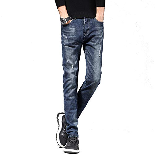Jubaton Men's Autumn and Winter Casual Thick Jeans Retro Slim Stretch Trousers Walking Daily Working Trousers Work Pants 34 Dark Blue