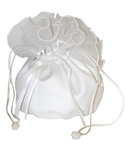 hochzeits-shop-hamburg Brauthandtasche,Zugbeutel mit Perlen u.Blumen weiß