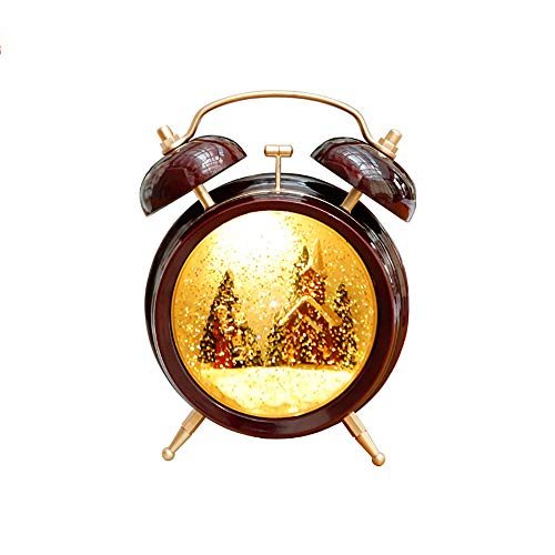 """XXBR Small Alarm Clock, 4"""" Mini Vintage Classic Bedside/Analogue Alarm Clock with Night Light Battery Operated Travel Clock Round and Loud Alarm Clock - Santa Claus-The Best for Children"""
