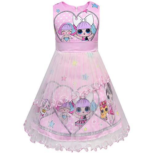 Lqszzi Mädchen Kleid mit Geldbörse für Mädchen, Sommer, bunt, Abendkleid, Urlaub, Party, Prinzessinnenkleider Gr. 120 cm, 1# Rosa