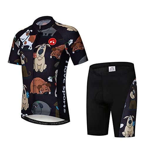 Maillot de ciclismo para niños, manga corta, diseño de dibujos animados, para ciclismo de carretera y montaña, pantalones cortos transpirables - Negro - Small