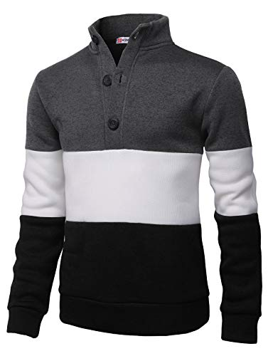 H2H Mens Fashion Knitted Slim Fit Pullover Sweaters Color Block High-Neck with Button Point Charcoal US 2XL/Asia 3XL (CMOSWL038)
