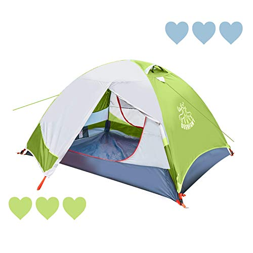 DEERFAMY 1/2 Person Tent, Lightweight Backpacking Double Layer Dome Tent, 3 Season Waterproof Family Tent for Outdoor, Hiking, or Fishing (Green)