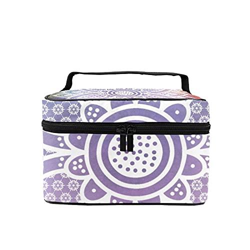 Bolsa de maquillaje de viaje grande para cosméticos con diseño de mandala hippie bohemio, organizador con bolsa de malla para mujeres y niñas