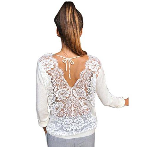 Kolylong® Sweatshirt Damen Frauen Elegante Spitze Rundhals Bluse Herbst Locker Langarm Shirts Rückenfreie Hemd V-Ausschnitt T-Shirt Tank Tops Oberteile (S, Weiß)