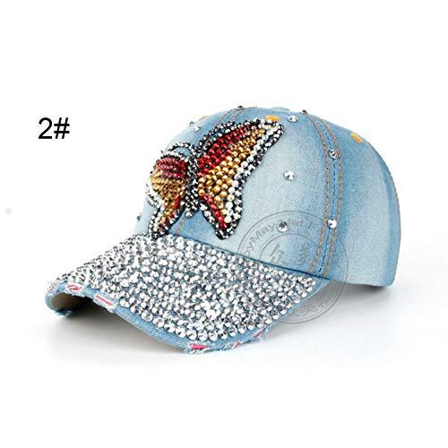 JKYJYJ Design Bling Hat & Cap Bunte Schmetterling Denim Jean Baseball Cap Für Dame Voller Strass Auf VisierB220