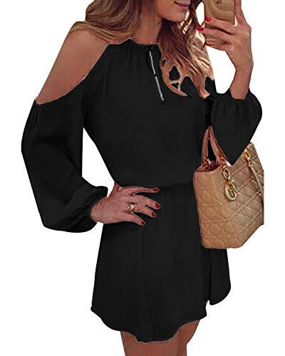 YOINS Donna Vestito a Spalle Scoperte Abito Mini Vestiti a Manica Lunga a Vita Alta Abiti da Spiaggia Nero EU46