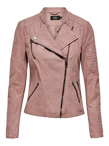 ONLY onlAVA FAUX LEATHER BIKER OTW NOOS, Chaqueta Mujer, Rosa (Ash Rose), 38