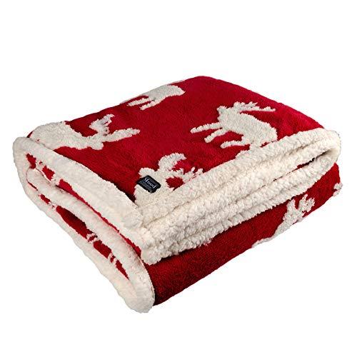 dhal Kuscheldecke Winterdecke Elch Schneeflocke Rot Weiß 180x130 cm Decke Tagesdecke Wohndecke Plüschdecke Winter (Rot-Weiß (Elch))