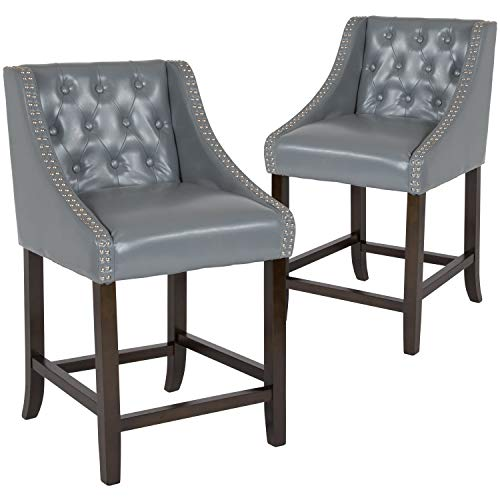 "Taylor + Logan 2 Pk. 24"" High Transitional Tufted Walnut Counter Height Stool with Accent Nail Trim in Light Gray Leather"