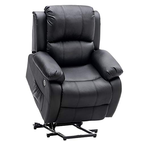 Mcombo Small Sized Electric Power Lift Recliner Chair Sofa with Massage and Heat for Small Elderly People Petite, 3 Positions, 2 Side Pockets, USB Ports, Faux Leather 7409 (Small, Black)