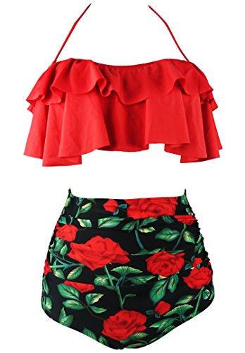 COCOSHIP Red Rose Floral & Red Retro Boho Flounce Falbala High Waist Bikini Set Chic Swimsuit Bathing Suit XL(FBA)