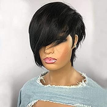 Short Bob Pixie Cut Wigs Human Hair for Black Women Pixie Cut Short Wigs with Bangs Side Part No Lace Short Pixie Wigs Glueless Full Machine Made Wig 150%Density  8 inch 180%Density