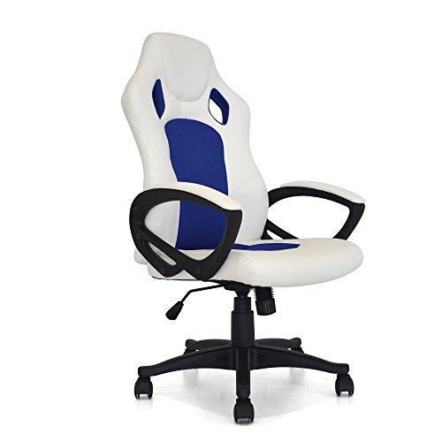 Cribel Coach, Poltronag Gaming da ufficio, Metallo Cromato, Similpelle, Design sportivo , 61x68x107 cm, Bianco e Blu