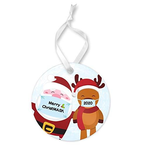 Nobrands Merry ChristMASK 2020 - Adorno de Papá Noel y reno, adorno redondo de cerámica y cinta, adorno de cuarentena de Navidad, decoración de árbol de Navidad, regalo de recuerdo