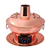 Lamyanran Safe Cookware Fondue Fryers Chinese Traditional Old Beijing Charcoal Hot Pot Kitchen Utensil Cooker With Remote Operation (34 Cm Diameter, Red Copper)