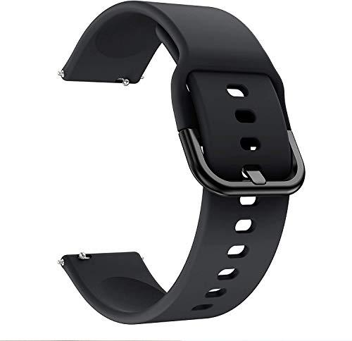 QULLOO Cinturino Compatibile per Samsung Galaxy Watch 3 (45mm), Polsino Sostitutivo in Silicone Soft Regolabile Silicone Sport Cinghie Donne Uomini per Samsung Watch 3 (45mm) Smartwatch - Nero
