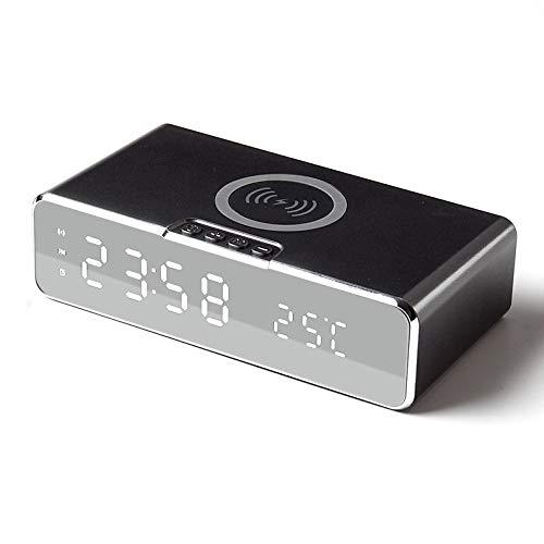 Reloj despertador de carga inalámbrica, 2 en 1, reloj inteligente LED, pantalla de temperatura, cargador inalámbrico compatible con iOS y Android, certificado Qi para dormitorio, hogar y oficina