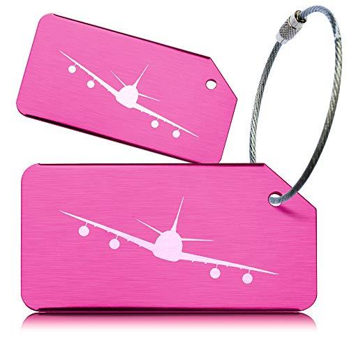OCTiLUX Luggage Tags for Travel Suitcase Aluminium Aero Design 2 Pack Pink