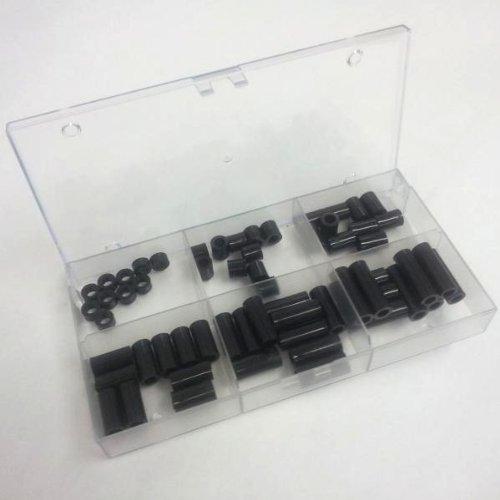 Sortiment Distanzhülsen für M8 Schrauben, 6 Längen 5mm bis 30mm, Kunststoff schwarz, je 10 STK.
