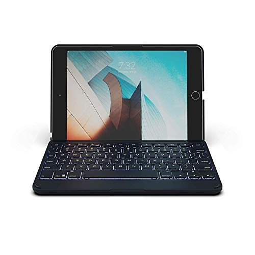 """ZAGG Folio - Bluetooth Tablet Keyboard - Backlit with 7 Colors - Made for Apple iPad Mini 5 (7.9"""") - Charcoal"""