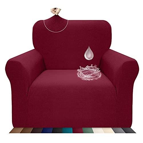 Luxurlife - Funda de silla repelente al agua para sala de estar, funda de sofá de alta elasticidad, antideslizante, protector de muebles para niños, mascotas con fondo elástico (1 plaza, rojo vino)