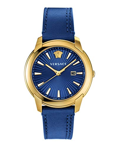 Versace V-Urban Herrenuhr Blaues Leder Gold Stahl Blaues Zifferblatt 42mm VELQ00319