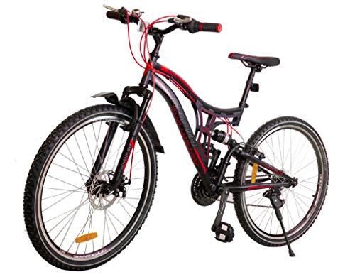 BDW Bicicleta de montaña Adventure de 26 pulgadas, suspensión completa, 18 velocidades, freno de disco, para niños y niñas, color rojo
