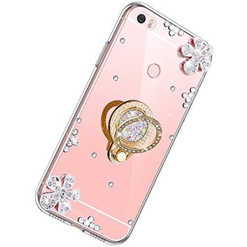 Herbests Coque pour Xiaomi Mi Max,Diamant Bling Coque Ultra Slim Cristal Brillant Reflet Miroir Case avec 360 Degrés Rotation Bague Glitter Anneau Flex Soft Gel en TPU Silicone Housse Bumper Cover