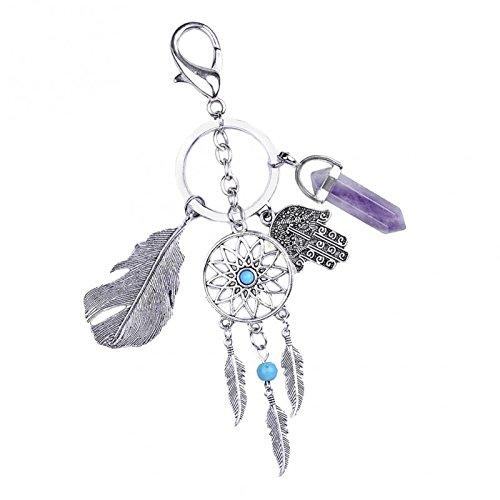 Sharplace Atrapasueños Moda Llavero Colgante de Piedra Preciosa Punto de Ágata Decoración de Bolso - Plata, Púrpura