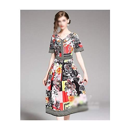 Rocke V-Ausschnitt Kurzarm Slim Abnehmen Langer Blumenrock Sommer Print Kleid (Farbe : Bildfarbe, Size : XL)