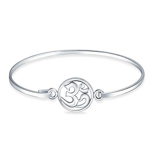 Aum Om Ohm Sanskrit Symbol Charme Yoga Spirituelle Harmonie Armreif Armband Für Frauen 925 Sterling Silber