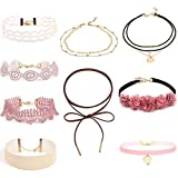 Bestyuan Adjustable Halloween Floral Choker Velvet Stretch Gothic Tattoo Lace Choker Set Pink Lace Tattoo Choker Set Double-deck Gold Necklace Rope Necklace for Women 9pcs