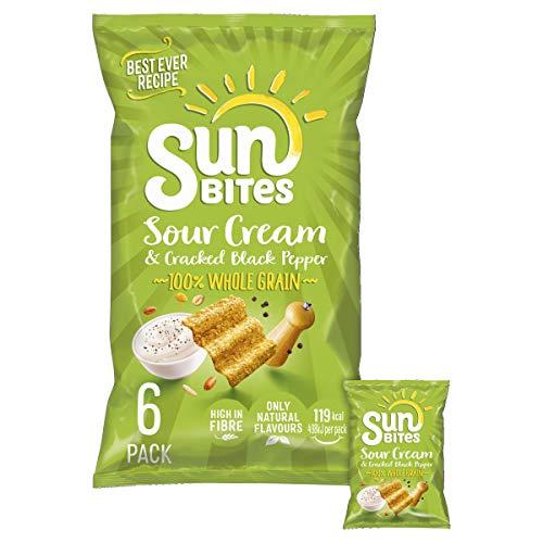 Sunbites Sour Cream and Pepper Multipack Snacks, 6x25g