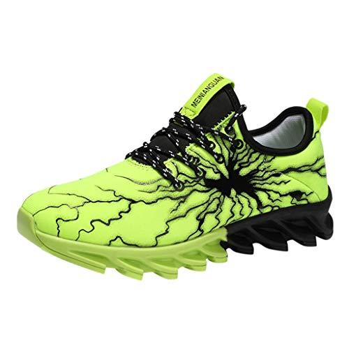 RYTEJFES Herren Sportschuhe Schnürschuhe Atmungsaktiv Moderne Freizeit Sneaker Schuhe Outdoor Laufschuhe Low-Top Bequeme Turnschuhe Gymnastikschuhe Männer Jungen Orange Schwar