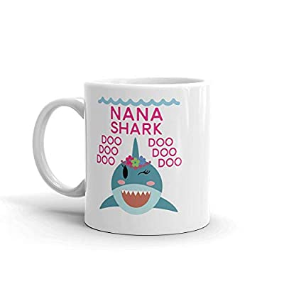 """Shark Nana"" Unique Ceramic Coffee Mug/Cup (11 oz.) — Birthday Mother's Day Christmas Gift For Mom Mother Grandma"