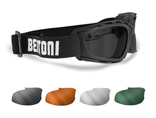 BERTONI Motorradbrille 4 Beschlagfreie Wechselgläser - Winddichte Rahmen - AF120B Helmbrillen
