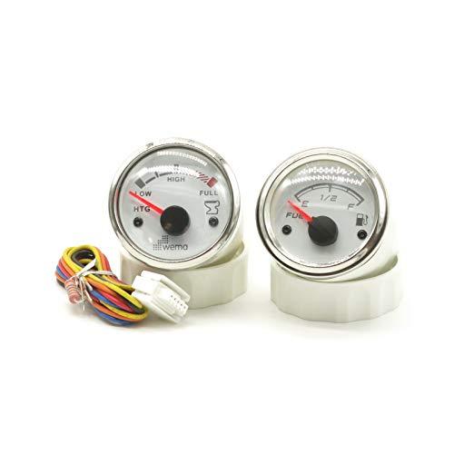 Wema 2 indicadores de nivel de llenado de agua sucia + combustible, color blanco, 52 mm de diámetro