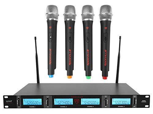 Rockville QUAD UHF 4 Wireless HandHeld Microphone System w/LCD Display (rwm4401uh)