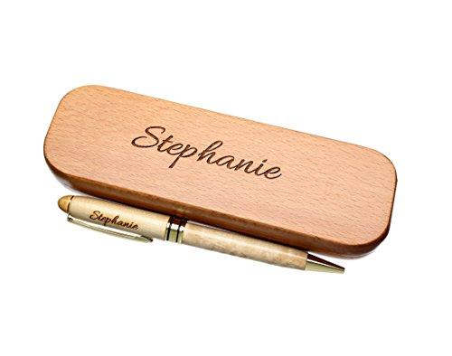 Kugelschreiber mit Wunsch-Name graviert in Geschenk-Schachtel aus Holz die Geschenkidee Stift gravur